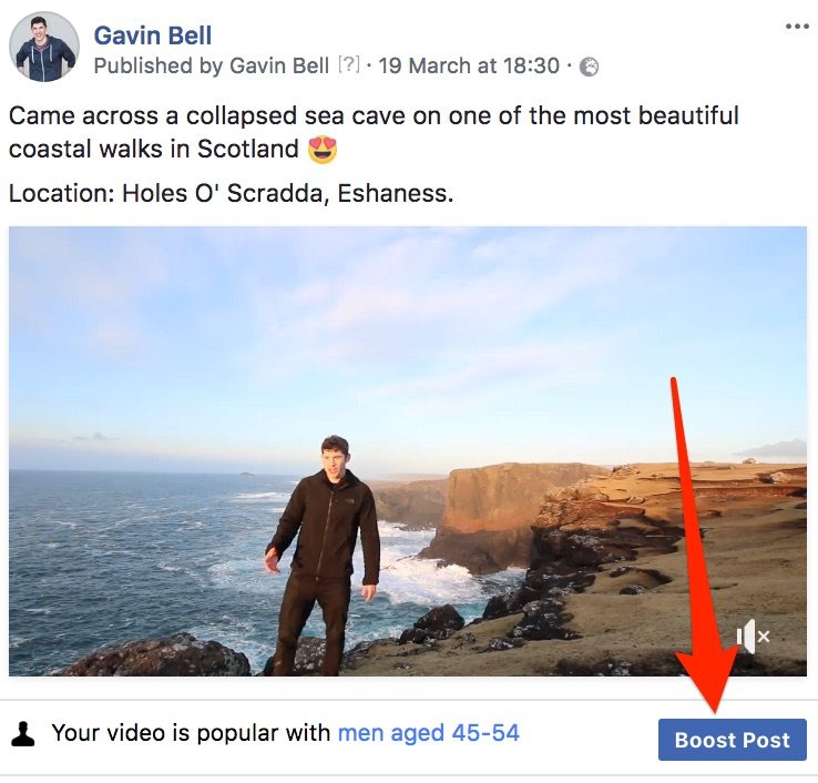 The boost button on Facebook allows advertisers to reach new audiences.