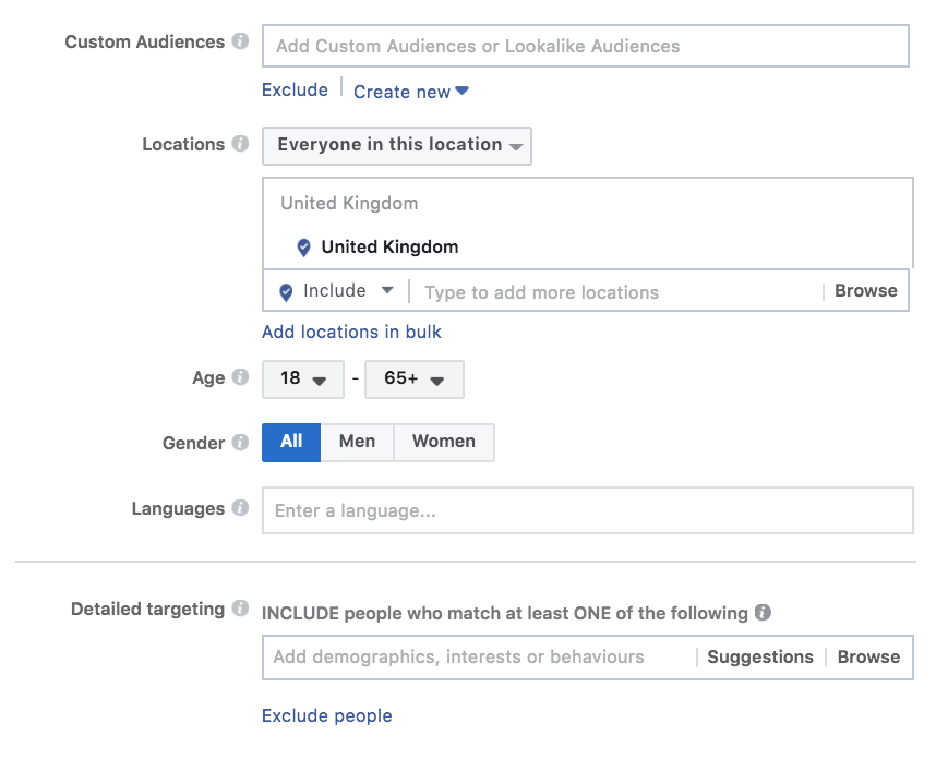 Selecting your audience for a facebook page likes ad