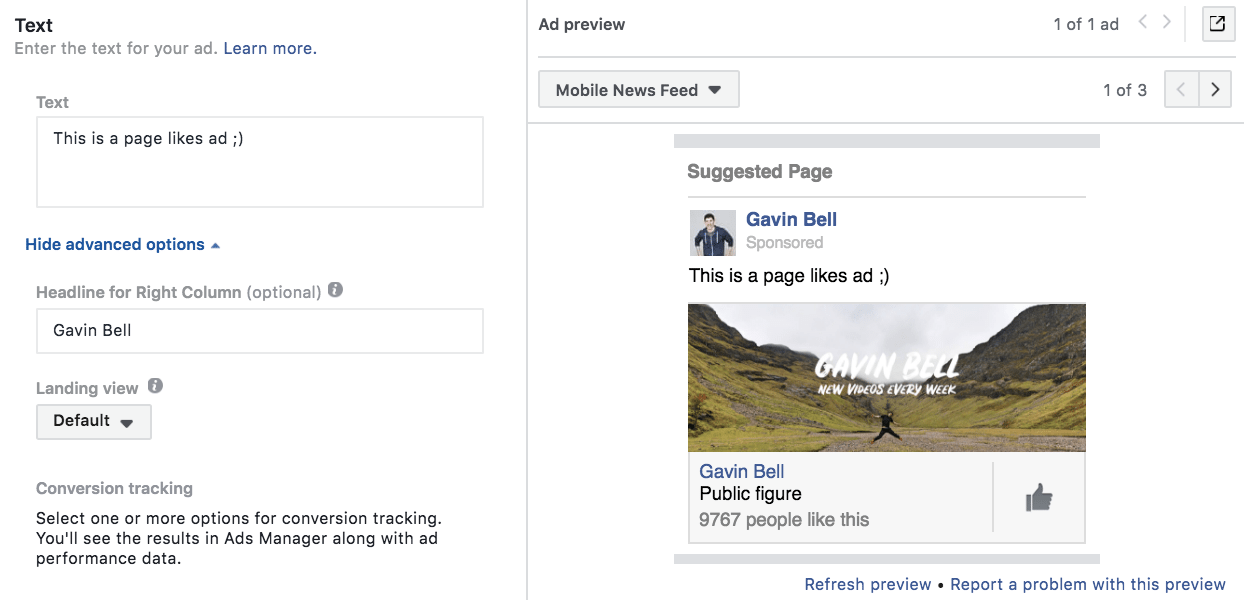 Writing the copy for a Facebook page likes ad