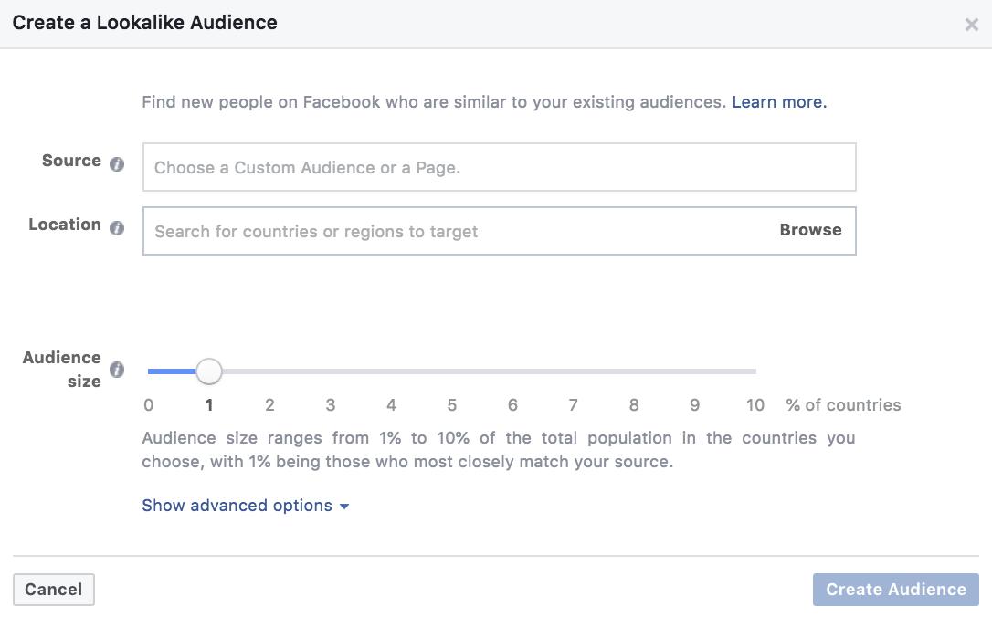 Creating a Facebook lookalike audience