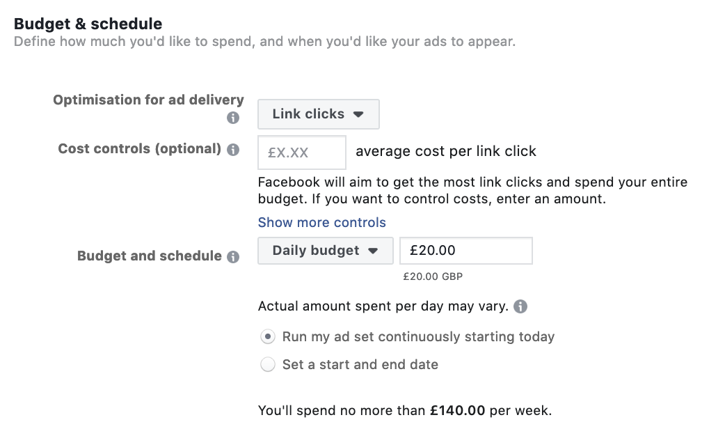 Choosing Facebook Ads Budget