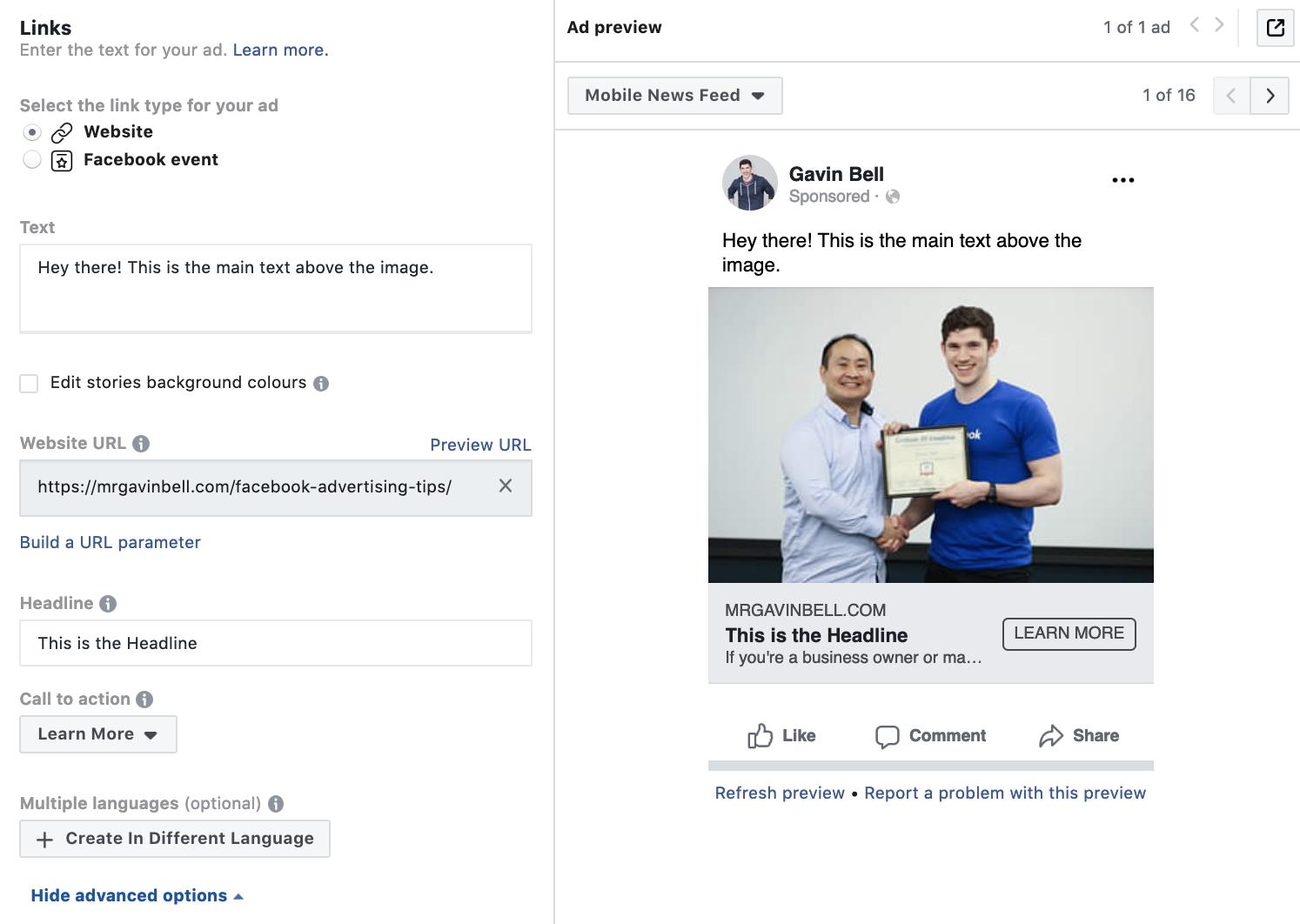 Writing Facebook ad copy