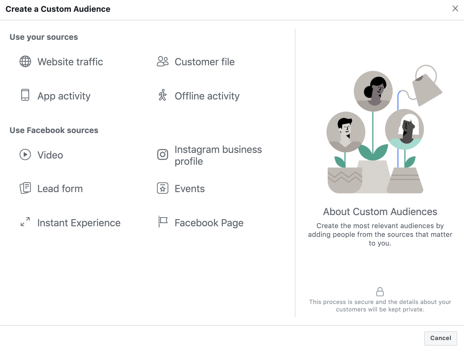 Selecting Facebook Custom Audience