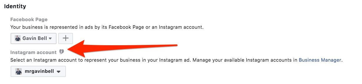 Selecting your Instagram profile for advertising
